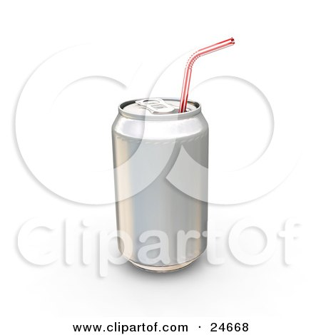Clipart Illustration of a Tin Soda Can Without A Label And A Straw Through The Tab by KJ Pargeter