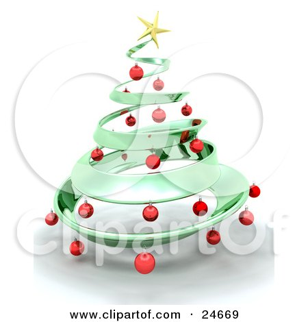 Metallic Green Metal Christmas Tree Decorated In Red Ornaments And A Golden Star, Over White Posters, Art Prints