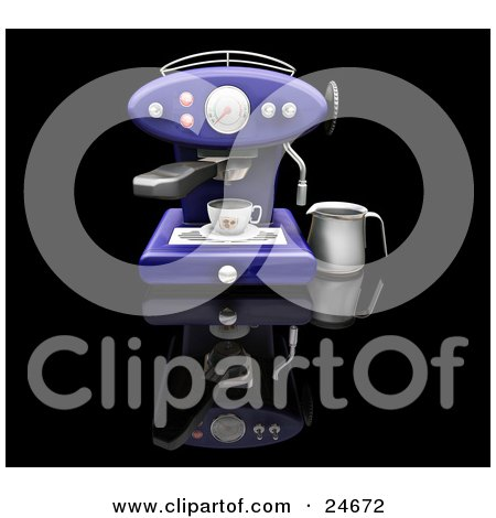Clipart Illustration of a Dark Blue Espresso Machine Making A Cappuccino, On A Black Kitchen Counter by KJ Pargeter