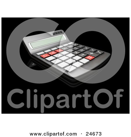 Clipart Illustration of a Black, Red And Gray Calculator With A Curved Display, On A Black Reflective Surface by KJ Pargeter