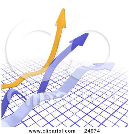 Clipart Illustration of Yellow, Blue And Gray Arrows Fluctuating Over A Blue Grid by KJ Pargeter