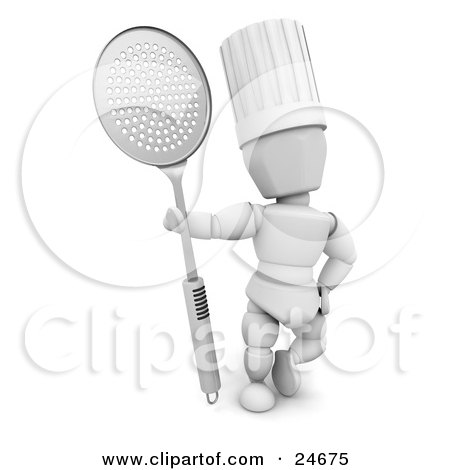 Clipart Illustration of a White Character In A Chef's Hat, Standing With A Metal Skimmer Spoon by KJ Pargeter