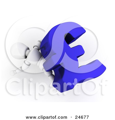Clipart Illustration of a White Character Lying Squished Under A Large Blue Pound Sterling Symbol by KJ Pargeter
