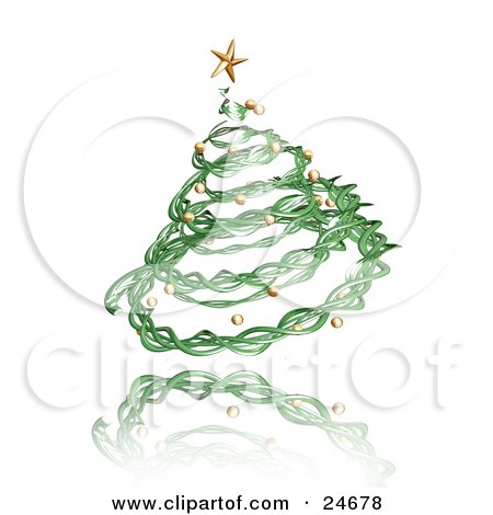 Green Spiral Twine Christmas Tree With A Golden Star And Ornaments, Over A Reflective White Surface Posters, Art Prints