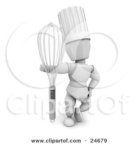 Clipart Illustration of a White Character In A Chef's Hat, Standing With A Whisk by KJ Pargeter