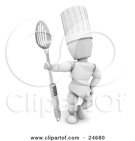 Clipart Illustration of a White Character In A Chef's Hat, Standing And Holding A Large Slotted Spoon by KJ Pargeter