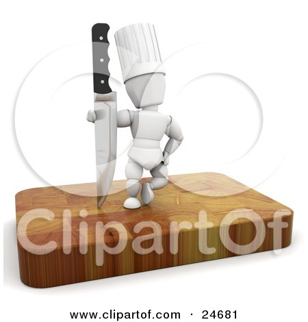 Clipart Illustration of a White Character In A Chef's Hat, Standing With A Sharp Knife On A Wooden Cutting Board by KJ Pargeter