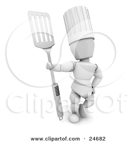 Clipart Illustration of a White Character In A Chef's Hat, Standing And Holding A Silver Spatula by KJ Pargeter