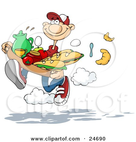 Clipart Illustration of a Sweet Caucasian Man Running And Dropping Silverware, Croissants And Eggs While Rushing To Deliver A Tray Of Sandwiches, Fruit And Drinks To His Girlfriend In Bed by Holger Bogen