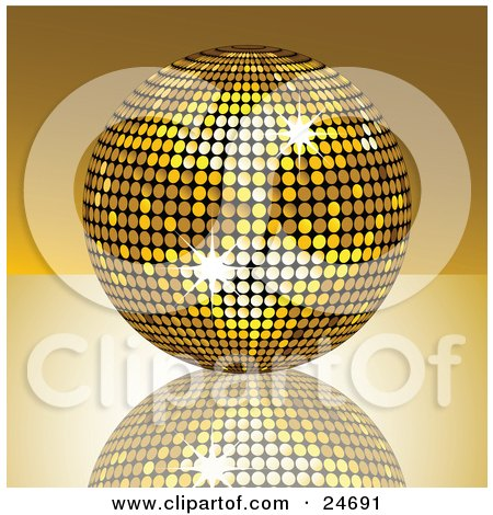 Clipart Illustration of a Sparkling Golden Disco Ball Suspended Over A Reflective Surface by elaineitalia