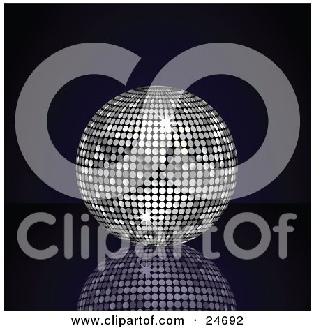 Clipart Illustration of a Sparkling Platinum Silver Disco Ball Suspended Over A Reflective Surface Over A Black Background by elaineitalia
