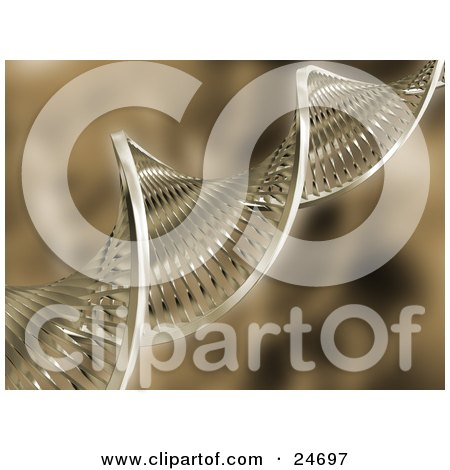 Clipart Illustration of a Double Helix DNA Strand Spanning Diagonally Over A Brown Background by KJ Pargeter