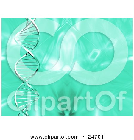 Clipart Illustration of a Spiraling Double Helix Strand Of DNA Spanning Veritcally Over A Green Background by KJ Pargeter
