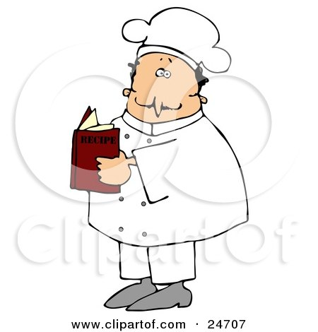Clipart Illustration of a White Male Chef In A White Uniform And Hat, Standing And Reading A Recipe Book In A Kitchen by djart