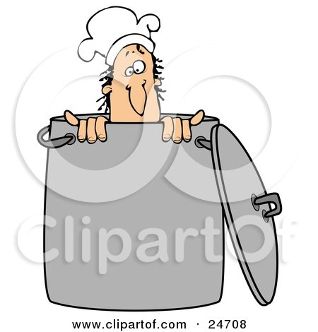 Clipart Illustration of a Silly Male Caucasian Chef Wearing A Hat And Peeking Out From Inside A Stock Pot by djart