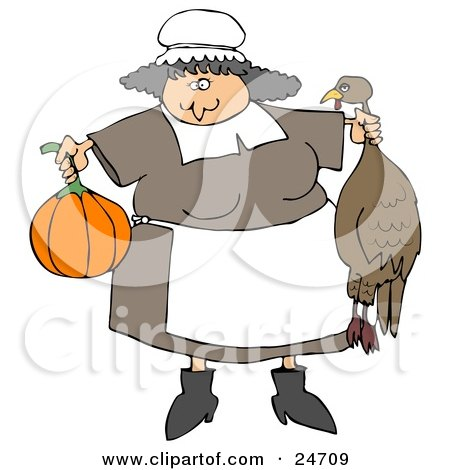 Clipart Illustration of a Friendly Chubby Pilgrim Woman In An Apron, Holding A Pumpkin And Dead Turkey, Preparing A Feast For Thanksgiving by djart