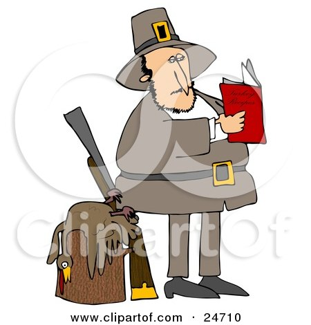 Clipart Illustration of a Male Pilgrim Standing By A Dead Turkey On A Stump And A Rifle, Reading A Book On How To Cook The Bird by djart