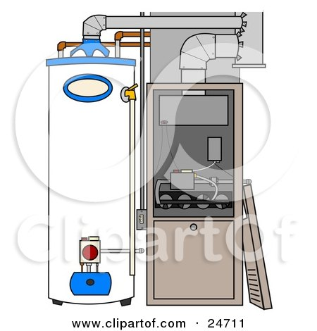 Clipart Illustration of a Furnace And Water Heater In A Residential Home, The Cover Off Of The Furnace by djart