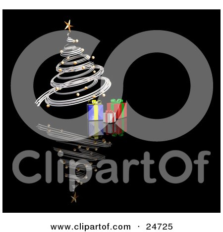 Clipart Illustration of a Silver Spiraled Christmas Tree With Gold Ornaments And A Star, Over Gifts On A Reflecting Black Surface by KJ Pargeter