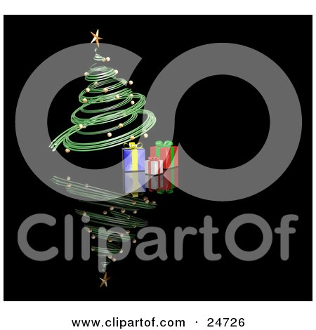 Clipart Illustration of a Green Spiraled Christmas Tree With Gold Ornaments And A Gold Star, Over Presents On A Reflecting Black Surface by KJ Pargeter