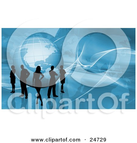 Clipart Illustration of Silhouetted Men And Women Standing Around A Globe Over A Blue Background With A Map And Twisted White Grids by KJ Pargeter