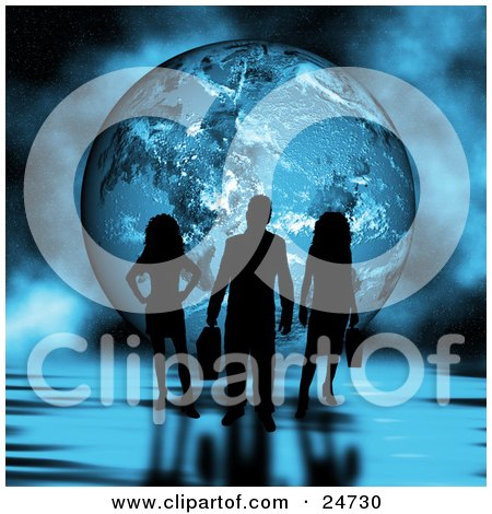 Clipart Illustration of Three Silhouetted Professional People Standing On A Rippled Reflective Surface In Front Of A Globe With A Foggy Background by KJ Pargeter