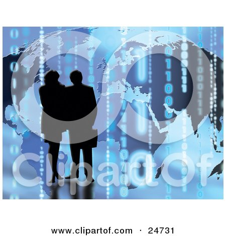 Clipart Illustration of a Silhouetted Couple Standing In Front Of A Map Background With Binary Coding by KJ Pargeter