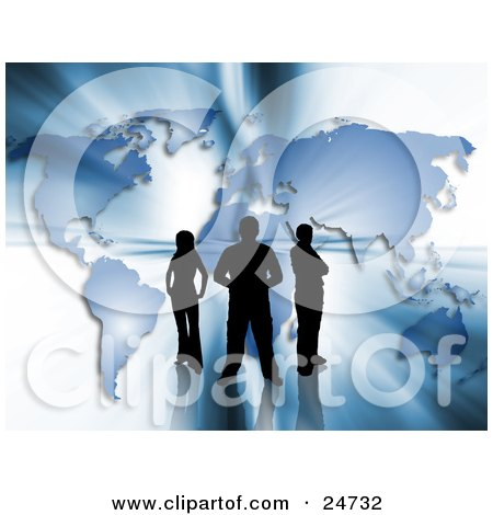 Clipart Illustration of Three Silhouetted People Standing In Front Of A Blue Map With Bright Bursts Of Light by KJ Pargeter