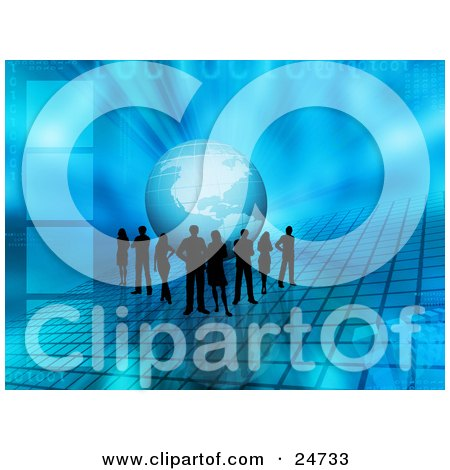 Clipart Illustration of a Team Of Silhouetted People Standing In Front Of The Globe On A Blue Grid With Squares And A Blue Background by KJ Pargeter