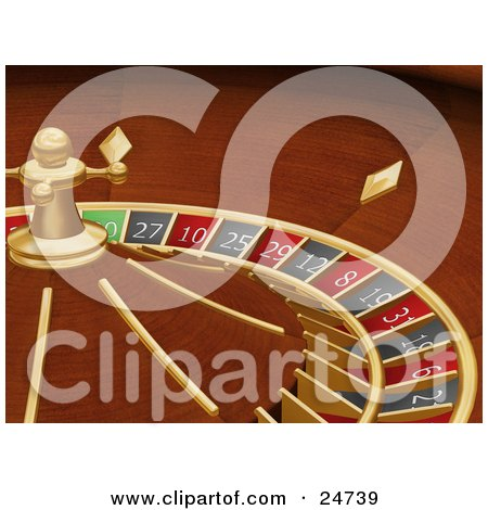 Clipart Illustration of a Spinning Roulette Wheel In A Casino by KJ Pargeter