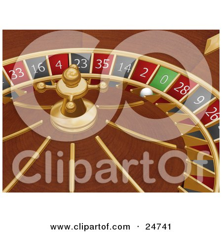 Clipart Illustration of a White Roulette Ball In The 0 Slot Of A Roulette Wheel In A Casino by KJ Pargeter