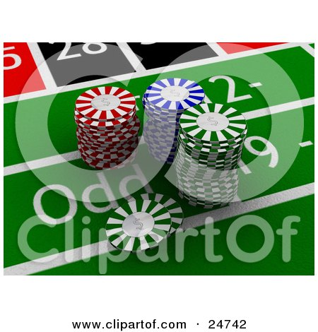 Clipart Illustration of Stacked Red, Green And Blue Poker Chips On A Roulette Playing Table In A Casino by KJ Pargeter