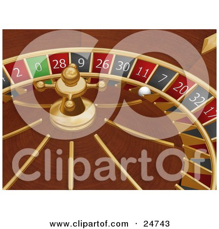 Clipart Illustration of a White Roulette Ball In The 7 Slot Of A Roulette Wheel In A Casino by KJ Pargeter