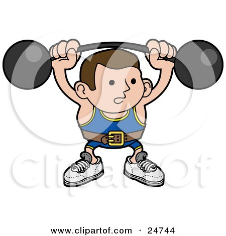 Clipart Illustration of a Strong Body Builder Holding A Heavy Barbell Above His Head And Wearing A Belt by AtStockIllustration