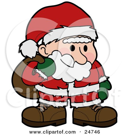 Clipart Illustration of Santa Claus In A Red And White Suit, Standing And Grinning With Flushed Cheeks, Carrying A Sack Of Toys Over His Shoulder by AtStockIllustration