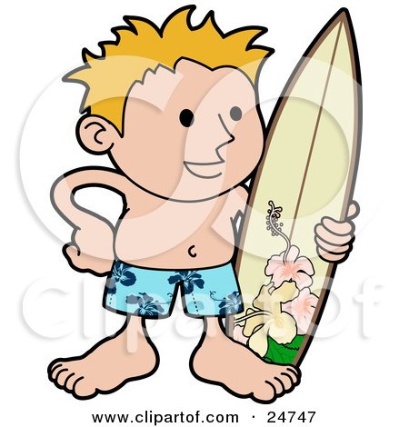 Clipart Illustration of a Happy Blond Surfer Dude In Blue Hawaiian Shorts, Standing On The Beach With A Surfboard by AtStockIllustration