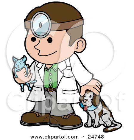 Friendly Male Veterinarian Petting A Dog And Holding A Cat During A Yearly Exam Posters, Art Prints