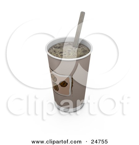 Clipart Illustration of a Stirring Stick In A Coffee Cup Without A Lid by KJ Pargeter