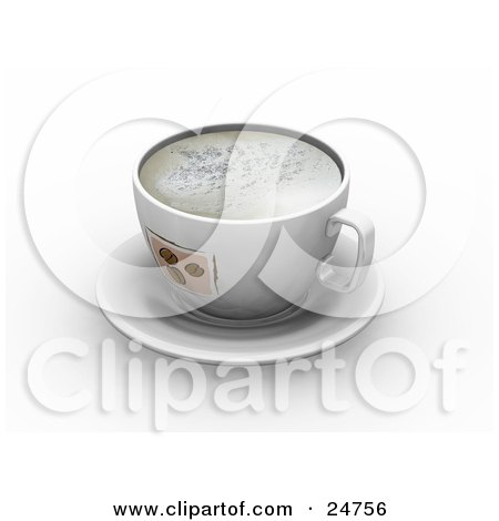 Clipart Illustration of a Frothy Cup With Coffee Bean Designs, On Top Of A White Saucer by KJ Pargeter