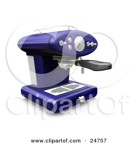 Clipart Illustration of a Blue Espresso Machine With Chrome Knobs On A Kitchen Counter by KJ Pargeter