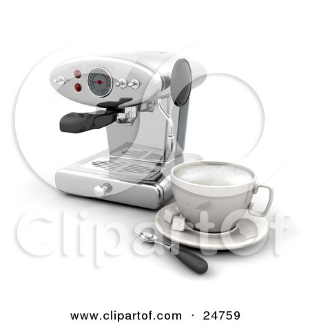 Clipart Illustration of a Chrome Espresso Maker Machine With A Cup, Sugar And A Spoon, On A White Kitchen Counter by KJ Pargeter