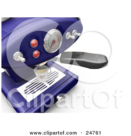 Clipart Illustration of a Blue Espresso Maker With Chrome Knobs On A Kitchen Counter, Pouring Into A Cup by KJ Pargeter