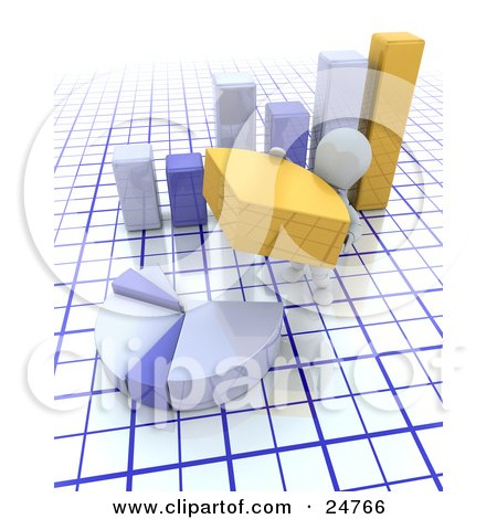 Clipart Illustration of a White Character Completing A Pie Chart With A Yellow Piece, In Front Of A Bar Graph Over A Grid Background by KJ Pargeter