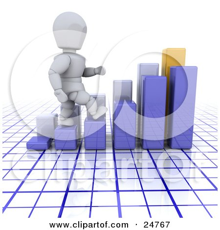 Clipart Illustration of a White Character Walking Up The Steps Of A Blue Bar Graph, In Front Of Another Graph, Over A Blue And White Grid by KJ Pargeter