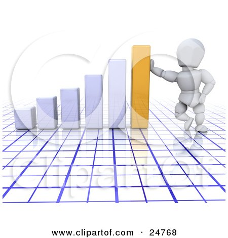 Clipart Illustration of a White Character Leaning Against A Golden Bar On A White Graph Over A Blue And White Grid, Symbolizing Success by KJ Pargeter