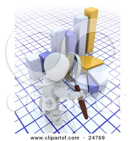 Clipart Illustration of a White Character Inpsecting A Pie Chart And Bar Graph With A Magnifying Glass, On A Blue And White Grid by KJ Pargeter