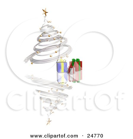 Clipart Illustration of a Silver Spiraled Christmas Tree With Gold Ornaments And A Star, Over Gifts On A Reflecting White Surface by KJ Pargeter