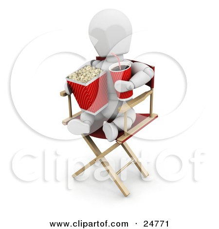 Clipart Illustration of a White Character Sitting In A Directors Chair, Holding A Soda And Eating Movie Popcorn by KJ Pargeter