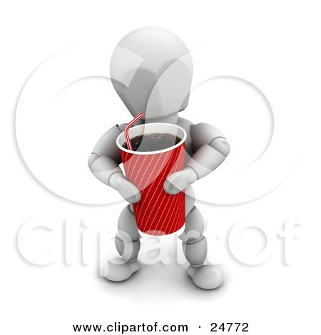 Clipart Illustration of a White Character Carrying A Large Red Fountain Soda With A Straw by KJ Pargeter