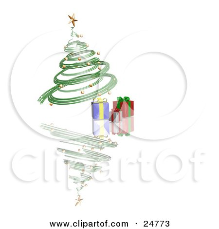 Clipart Illustration of a Green Spiraled Christmas Tree With Gold Ornaments And A Gold Star, Over Presents On A Reflecting White Surface by KJ Pargeter